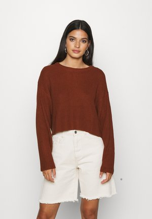 BASIC- cropped jumper - Stickad tröja - brown