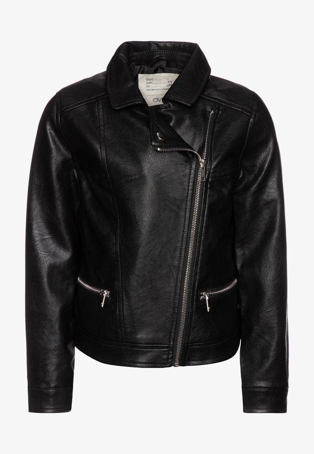 BIKER - Faux leather jacket - raven