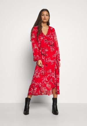 CONTRAST FLORAL MIDI DRESS - Day dress - red