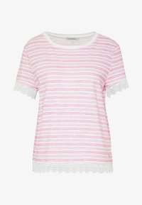 TEE WITH CROCHET TAPE DETAIL - Print T-shirt - white rose