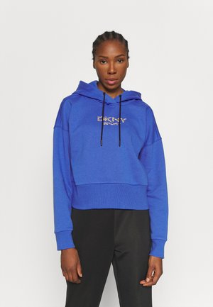 TIGER KING PRINTED EMBROIDERY CROPPED HOODIE - Sweater - azul