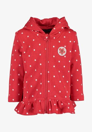 LIFE IS FLOWERFUL - Zip-up hoodie -  hochrot aop