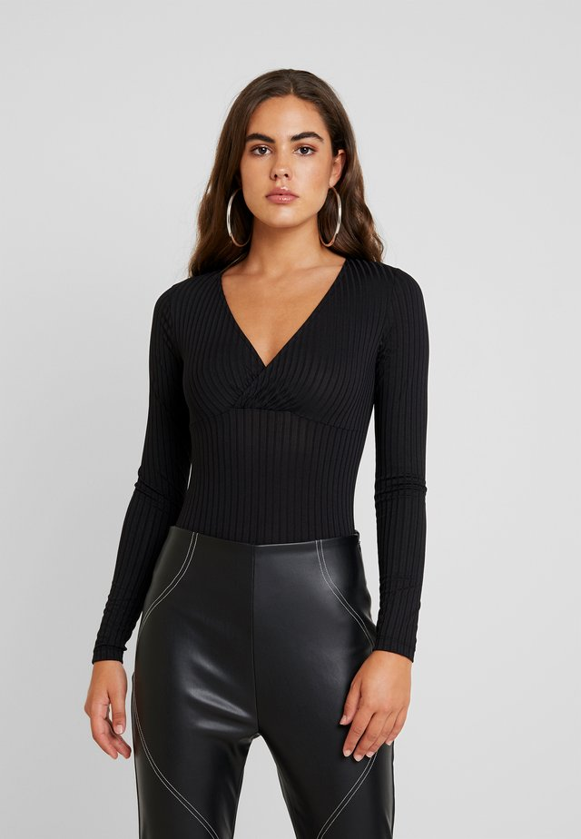 DRAPE NECK BODYSUIT - Long sleeved top - black
