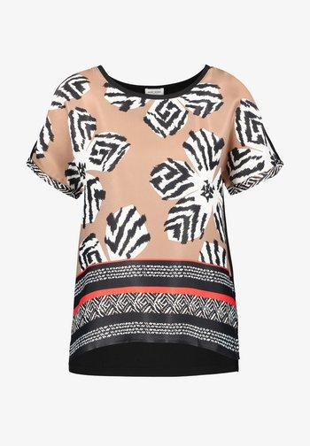 Print T-shirt - shell schwarz tangerine druck