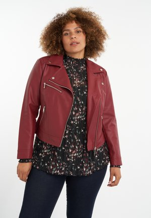 Faux leather jacket - wine red