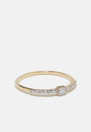 NATURAL DIAMOND RING CERTIFIED 0.12CARAT SOLITAIRE WITH ACCENT DIAMOND RINGS 9KT YELLOW GOLD DIAMOND JEWELLERY GIFTS FOR WOMENS - Ring - gold-coloured