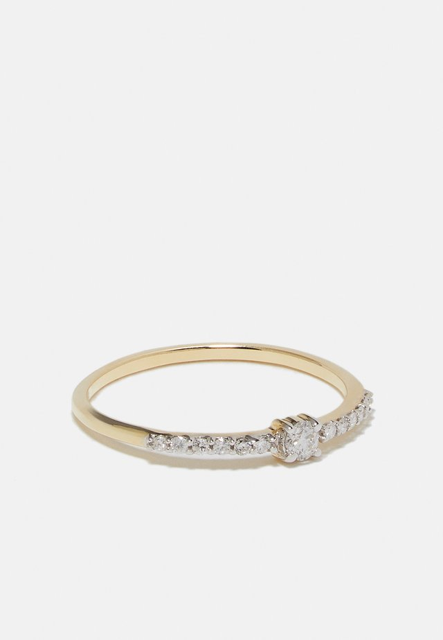 NATURAL DIAMOND RING CERTIFIED 0.12CARAT SOLITAIRE WITH ACCENT DIAMOND RINGS 9KT YELLOW GOLD DIAMOND JEWELLERY GIFTS FOR WOMENS - Sormus - gold-coloured