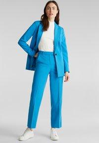Esprit Collection - SHIMMER MIX + MATCH STRETCH-HOSE - Pantalon classique - dark turquoise - 1