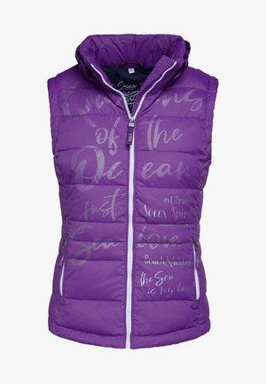 MIT PRINT UND KAPUZENKRAGEN - Waistcoat - bright purple
