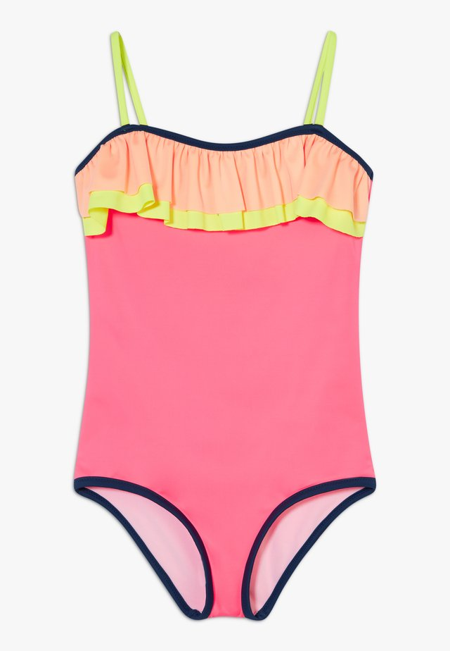 GIRLS COLOUR BLOCK DOUBLE FRILL SWIMSUIT - Badpak - hot pink