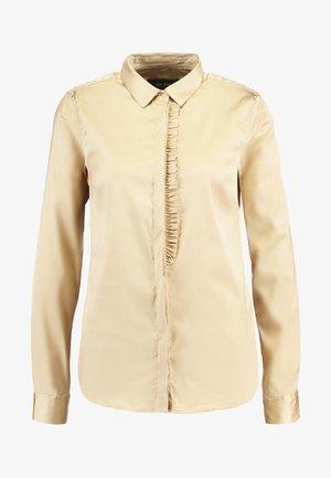 TILDA FRILL SATIN - Button-down blouse - beige