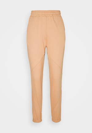 REGULAR FIT JOGGERS WITH SEAM DETAIL - Spodnie treningowe - camel