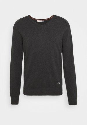 KIRK V NECK - Stickad tröja - black