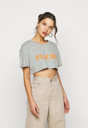 PEACHY ROLL CROP  - Print T-shirt - grey marl