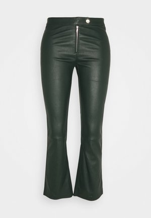 Leather trousers - dark green