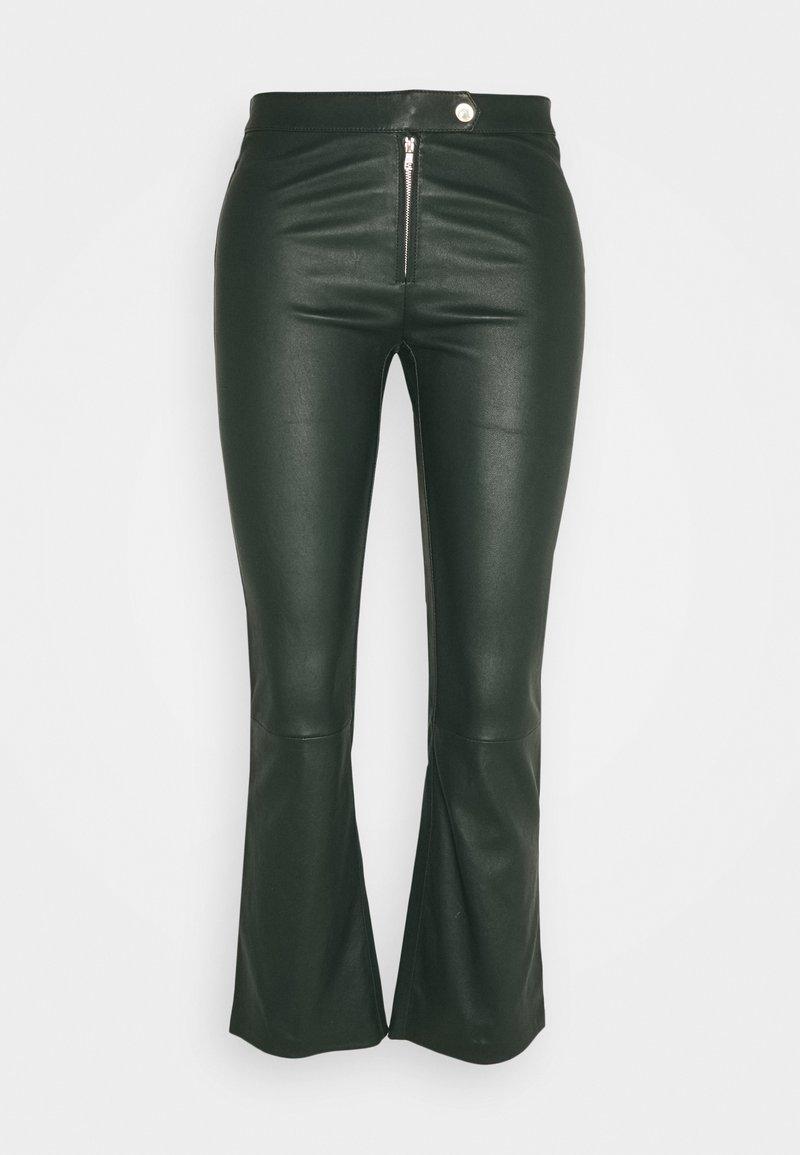 Ibana - Kožené kalhoty - dark green