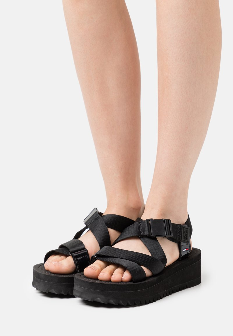 Tommy Jeans - IRIDESCENT STRAPPY - Platform sandals - black