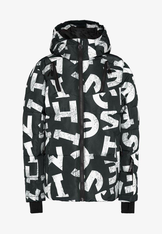 MIT MODISCHEM DRUCK - Snowboard jacket - black/white aop