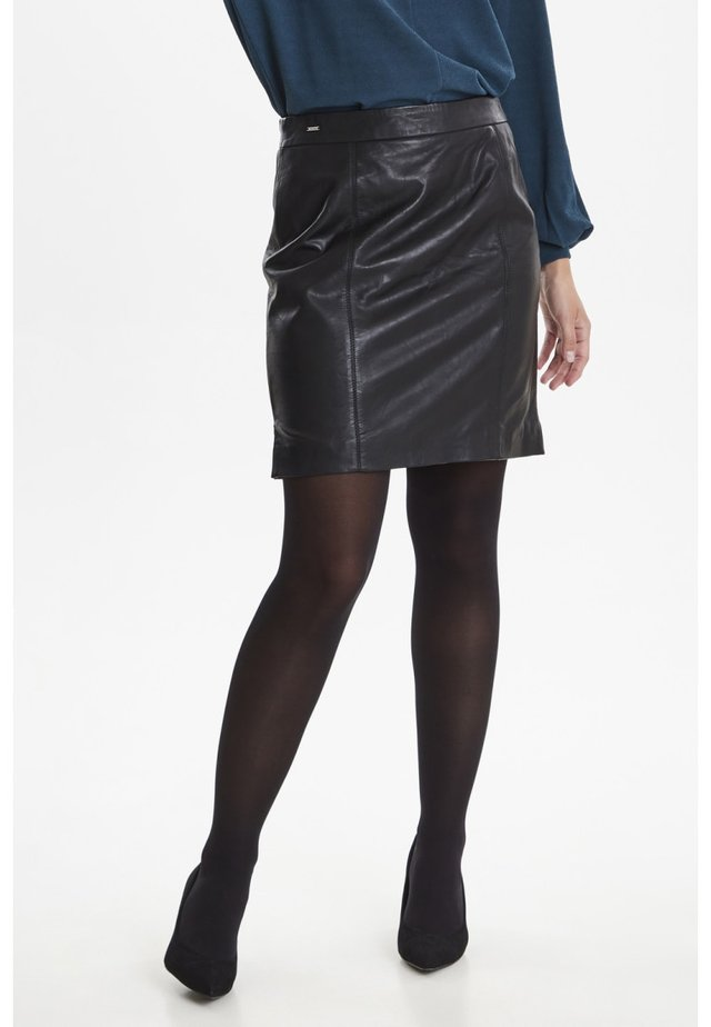 FRFALEATHER - Mini skirt - black