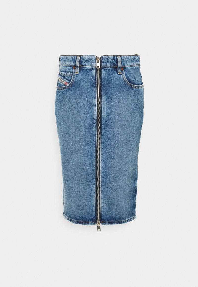 Diesel - PENCIL ZIP - Denim skirt - denim mid blue