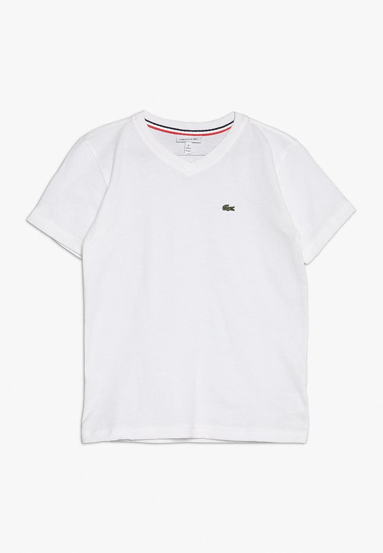Lacoste - BOY V-NECK TEE - T-shirt - bas - blanc
