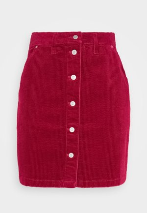 BUTTON SKIRT - Mini skirt - wine red