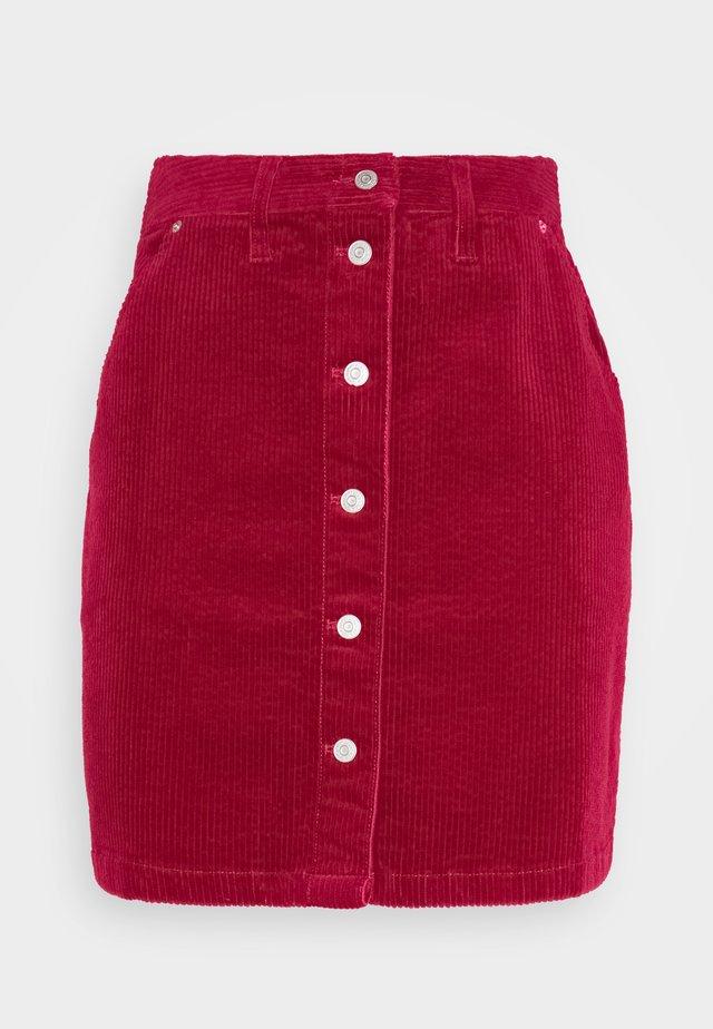 BUTTON SKIRT - Mini skirt - wine red