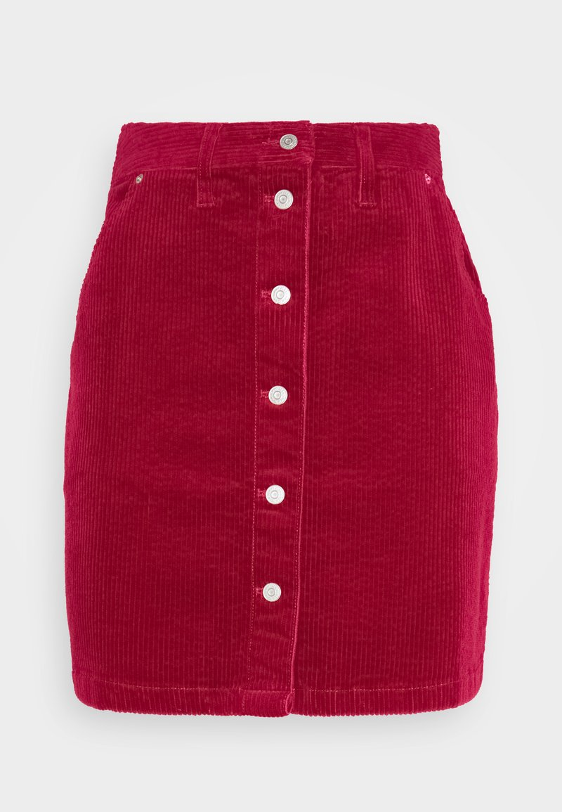 Tommy Jeans - BUTTON SKIRT - Mini skirt - wine red