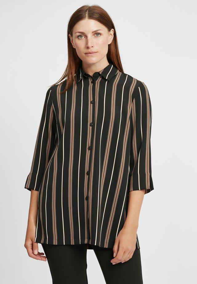 Košile - schwarz/cognac