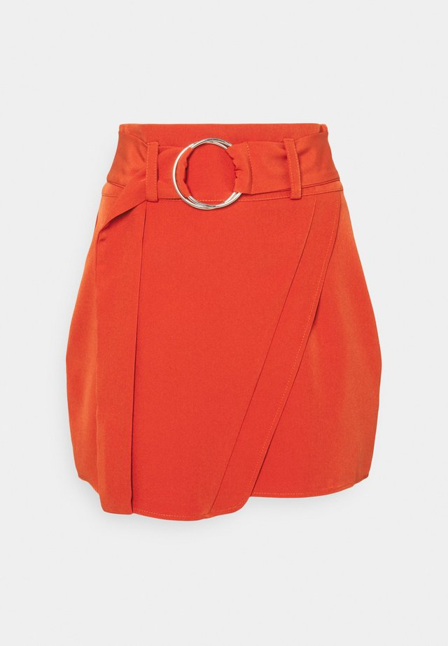 WRAP FRONT SKIRT BELTED - Minijupe - orange
