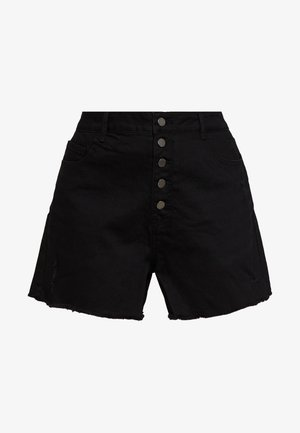 BUTTON FRONT MOM - Shorts di jeans - black