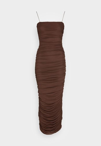 RUCHED DRESS - Cocktail dress / Party dress - brown