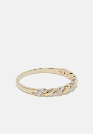 NATURAL DIAMOND RING CERTIFIED 0.03CARAT TWISTED DIAMOND RINGS 9KT YELLOW GOLD DIAMOND JEWELLERY GIFTS FOR WOMENS - Ring - gold