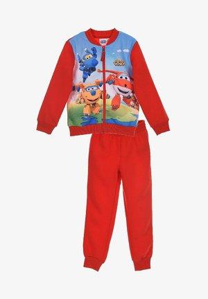 JOGGINGANZUG - Zip-up sweatshirt - rot