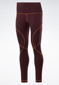 Reebok - MYT CONTRAST STITCH LEGGINGS - Leggings - burgundy - 7