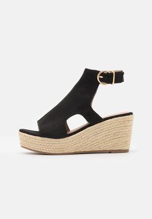 Sandalen met plateauzool - black