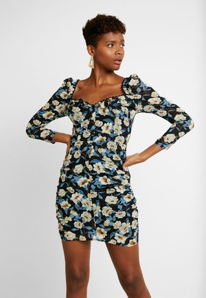 FLORAL SQUARE NECK PUFF SLEEVE MINI - Day dress - black