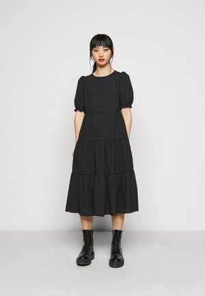 TEXTURE PUFF SLEEVE TIER MIDI - Day dress - black
