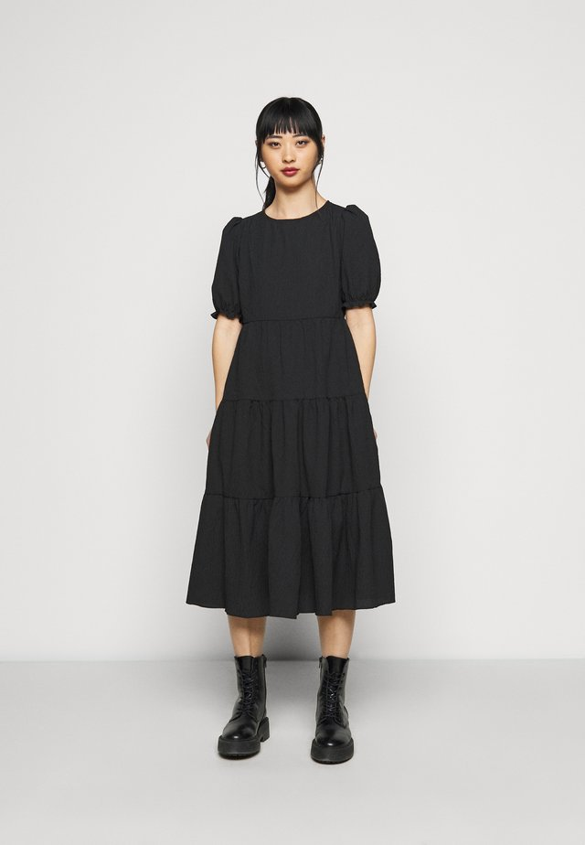 TEXTURE PUFF SLEEVE TIER MIDI - Maxi dress - black