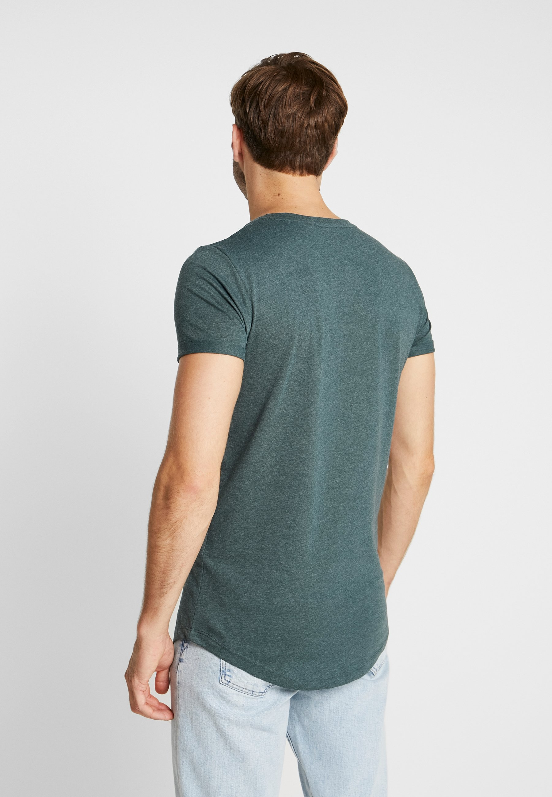 TOM TAILOR DENIM LONG BASIC WITH LOGO - Basic T-shirt - dark gable green melange HoSjQ