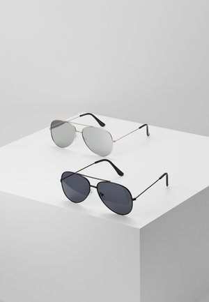 SUNGLASSES 2 PACK - Sunglasses - black/silver-coloured
