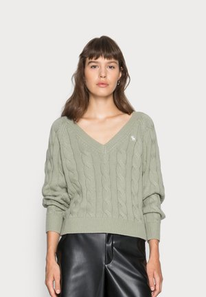 WEDGE FIT ICON CABLE VNECK - Jumper - olive