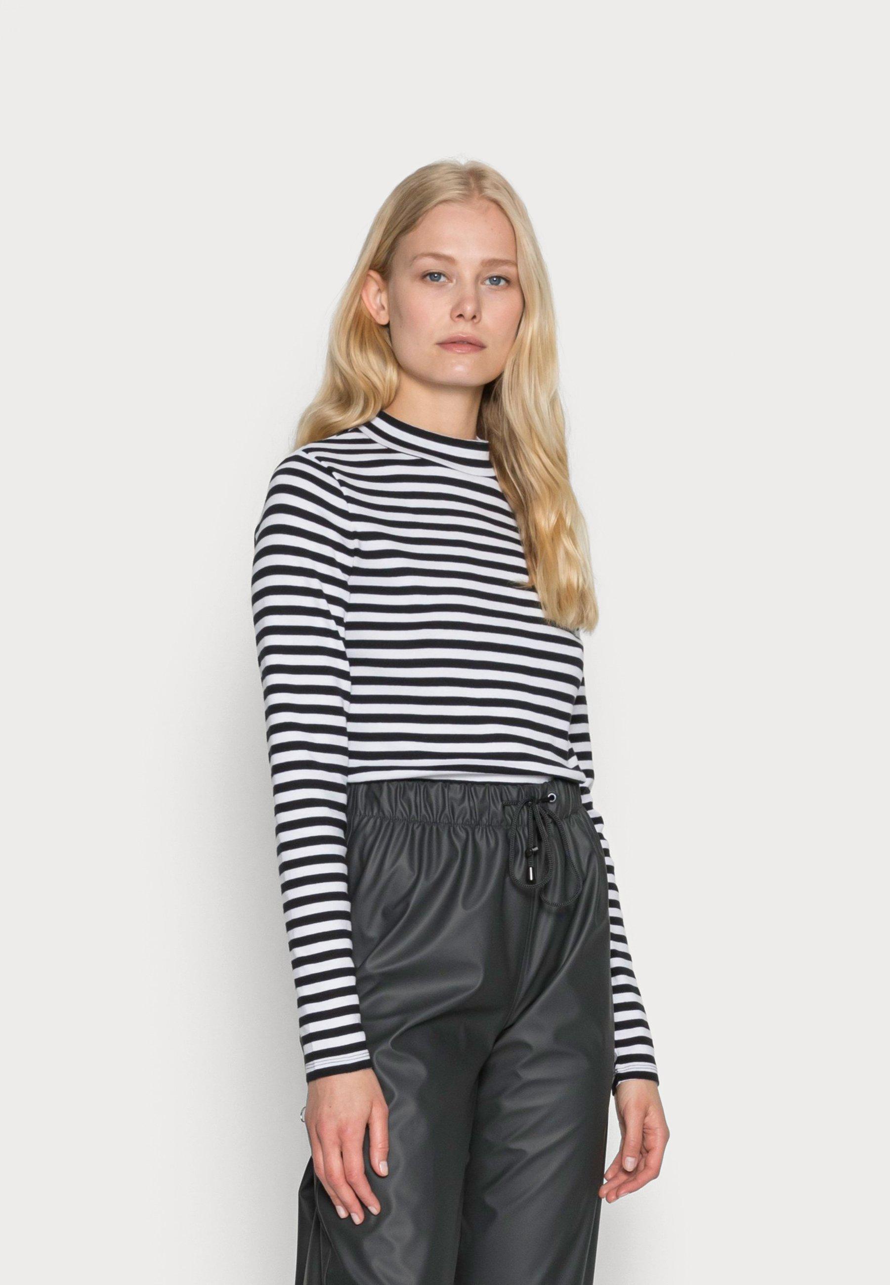 Women FULL NEELDE MOCK NECK STRIPED - Long sleeved top