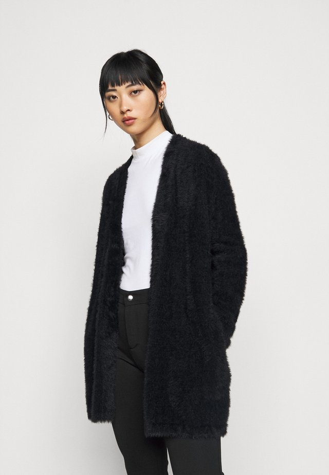 EYELASH MID OPEN FRONT - Cardigan - black