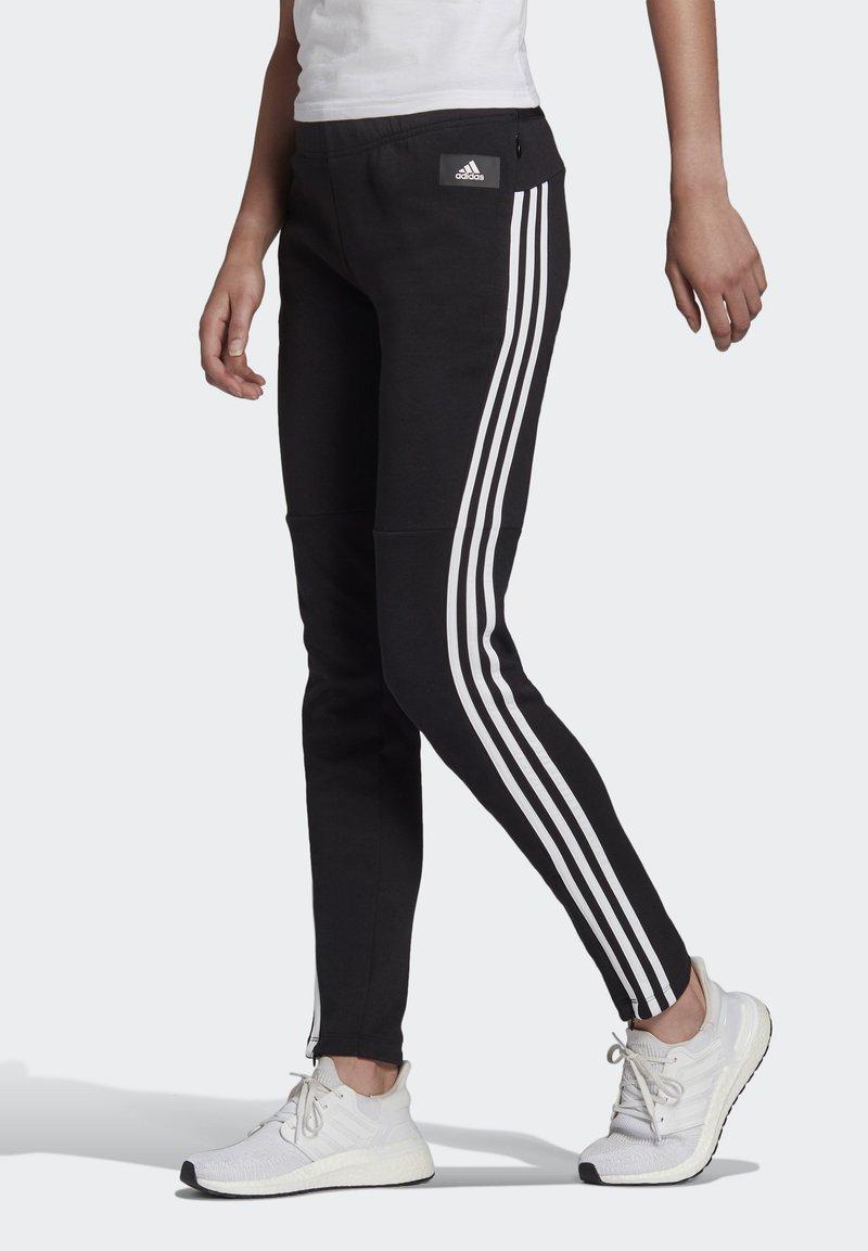 adidas Performance - ADIDAS SPORTSWEAR 3-STRIPES SKINNY PANTS - Pantalon de survêtement - black/white