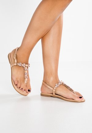 T-bar sandals - rose gold