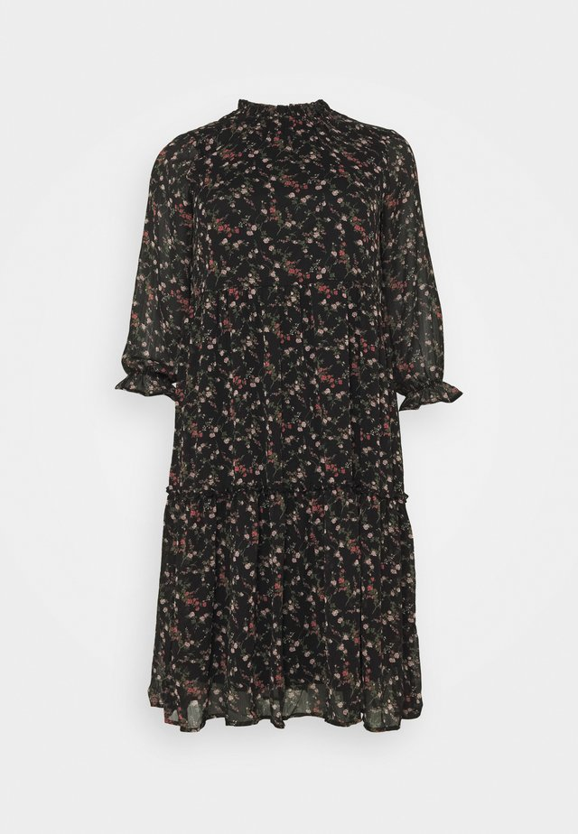 VMSYLVIA CALF DRESS - Vestito estivo - black/rose flowers
