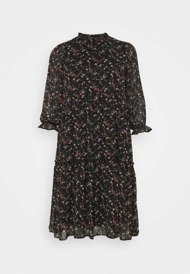 VMSYLVIA CALF DRESS - Day dress - black/rose flowers