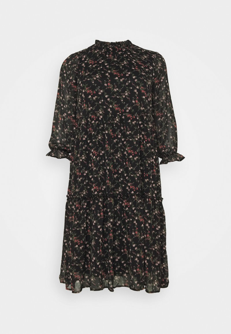 Vero Moda Curve - VMSYLVIA CALF DRESS - Day dress - black/rose flowers