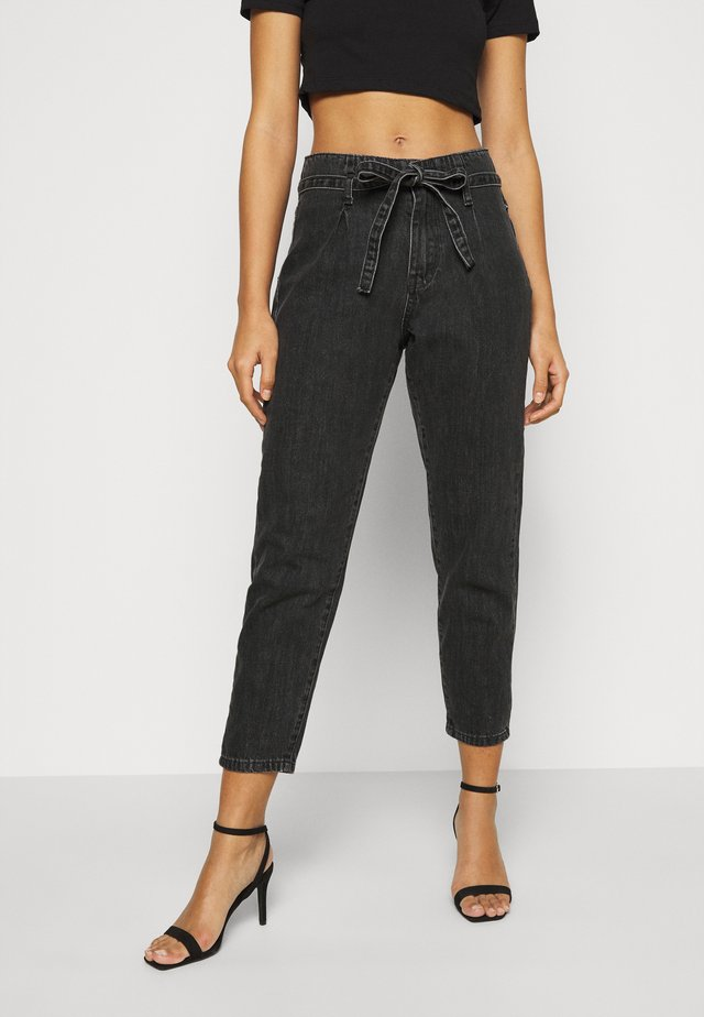 PAPER BAG TIE WAIST MOM - Relaxed fit jeans - charcoal